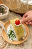 Cake van de aardbei de groene thee Stock Foto