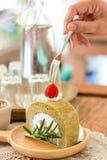 Cake van de aardbei de groene thee Royalty-vrije Stock Afbeeldingen