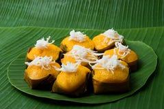 Cake van de de suikerpalm van het dessert de Thaise zoete met Kokosnoot Royalty-vrije Stock Foto's
