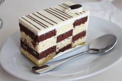 Cake van stuk op de witte plaat Royalty-vrije Stock Foto's
