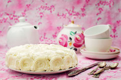 Cake with vanilla cream in the form of roses Stock Photography
