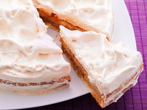 Cake with vanilla frosting Royalty Free Stock Photos