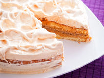Cake with vanilla frosting Royalty Free Stock Image