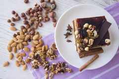 Cake with variety of nuts Royalty Free Stock Images