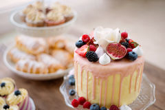 Cake with various berries and meringues on a stand. Royalty Free Stock Photo