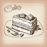Cake vector hand drawn Stock Images