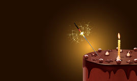 Cake. Vector illustration of chocolate cake with candle and sparkler, eps10 file, gradient mesh and transparency used Royalty Free Stock Photos
