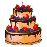 Cake vector illustration  painted watercolor Royalty Free Stock Images