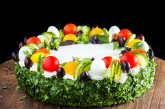 Cake with vegetables. Delicious salty cake with a lot vegetables. Very fresh and tasteful. Also very healthy and full of vitamins Royalty Free Stock Photos