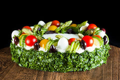 Cake with vegetables. Delicious salty cake with a lot vegetables. Very fresh and tasteful. Also very healthy and full of vitamins Stock Photos