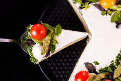 Cake with vegetables. Delicious salty cake with a lot vegetables. Very fresh and tasteful. Also very healthy and full of vitamins Stock Photography