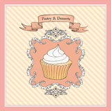 Cake Vintage Poster.  Bakery and Dessert poster Royalty Free Stock Images