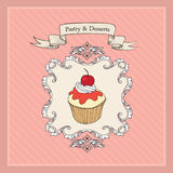 Cake Vintage Poster.  Bakery and Dessert poster Royalty Free Stock Photos