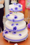 Cake with Violet Flowers Royalty Free Stock Photo