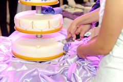 Cake on Violet Tablecloth Stock Photo