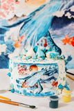 Cake with wafer paper. Birthday party inspiration Nautical theme royalty free stock photo