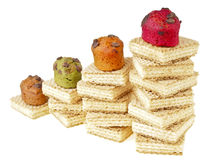 Cake on wafer step Royalty Free Stock Photos