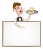 Cake Waiter Sign. An illustration of a cartoon waiter holding a tray with a cake on it  and pointing at a signboard Royalty Free Stock Image