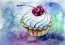 Cake. Watercolor sweet cupcake with cream and cherry Royalty Free Stock Images