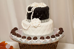 The cake on wedding or event party. Detail of the sweet table on wedding or event party Stock Photography