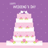 Cake Wedding Flower Sweet cute cartoon Vector Royalty Free Stock Photography
