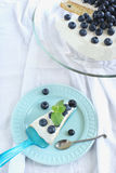 Cake with whipped cream and blueberries. Sponge cake with whipped cream and blueberries Stock Photos