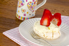 Cake whipped cream and strawberries Stock Photo