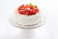 Cake with whipped cream and strawberries on a stand Stock Photos