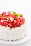 cake with whipped cream and strawberries, vertical Royalty Free Stock Image