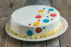 Cake in white chocolate glaze. Stock Images