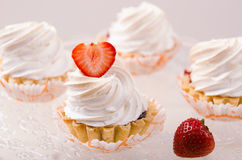 Cake with white cream and fresh strawberries on Stock Photos