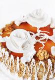Cake with white creamy roses Royalty Free Stock Photography