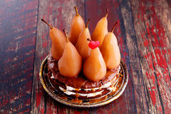Cake with whole pears Royalty Free Stock Images
