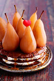Cake with whole pears Stock Photo