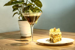 Cake and wine Stock Images