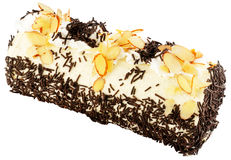 Cake wirh chocolate and almond on white Royalty Free Stock Photo