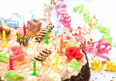 Cake With Candles For Celebration Stock Image