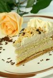 Cake With Nuts, Chocolate, Cream And Rose Royalty Free Stock Photo