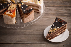 Cake on  wooden background Royalty Free Stock Images