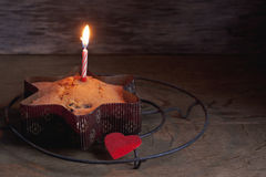 Cake on wooden table stock photo