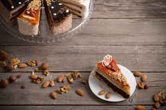 Cake on  wooden table Stock Images
