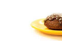 Cake on yellow plate. Delicious cake on the white background stock images