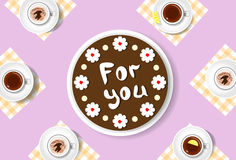 Cake For You Cups Celebration Top Angle View Stock Image
