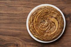 Cake Zebra. On wooden background Royalty Free Stock Photos