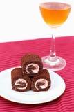 Cakechocolade en wijn Stock Fotografie