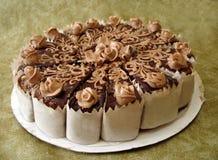 cakechokladonbackground Royaltyfria Foton