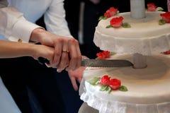 cakecuttingbröllop Fotografering för Bildbyråer