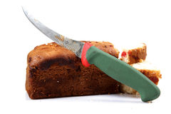 cakecuttingfrukt royaltyfri bild