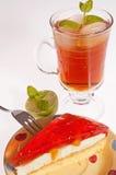cakeefterrätten iced tea Arkivbild