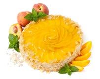 cakefruktpersika Royaltyfri Bild